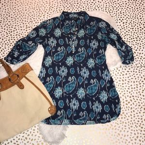 Lucky Brand Watercolor Ikat Paisley Cotton Tunic
